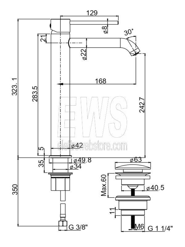 Paini Cox miscelatore tipo alto per lavabo nero opaco 78YO211TCOLLSR