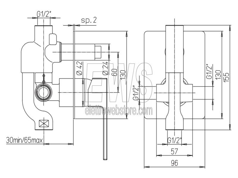 Paini Dax R miscelatore rubinetto due vie doccia incasso 84CR6911R